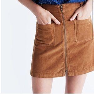 Madewell Zip Front Corduroy Skirt